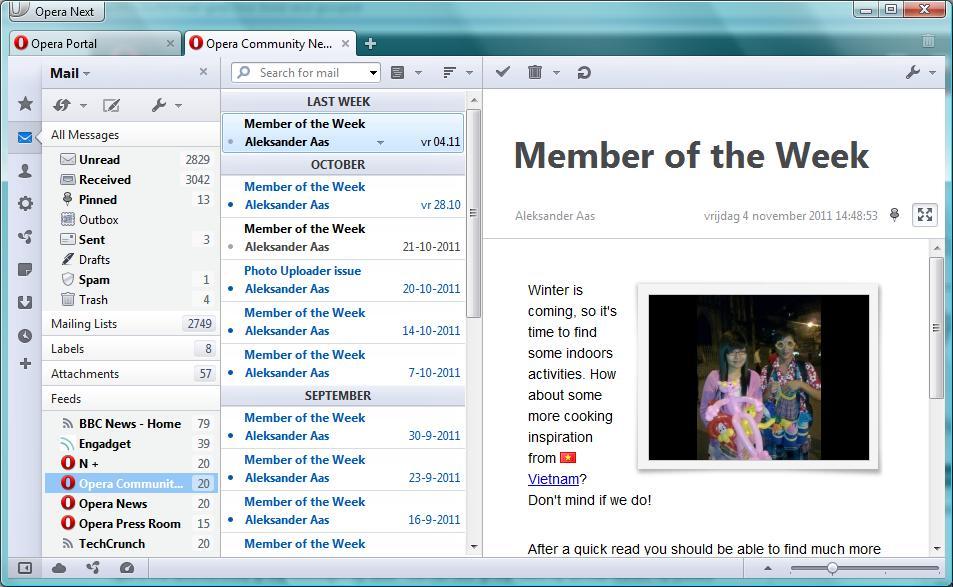 Mails sinnvoll gruppiert und mit Labels versehen: Opera M2