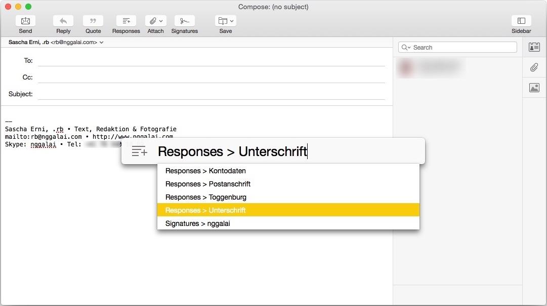 Nicht so mächtig wie TextExpander, aber für Mails reicht's.